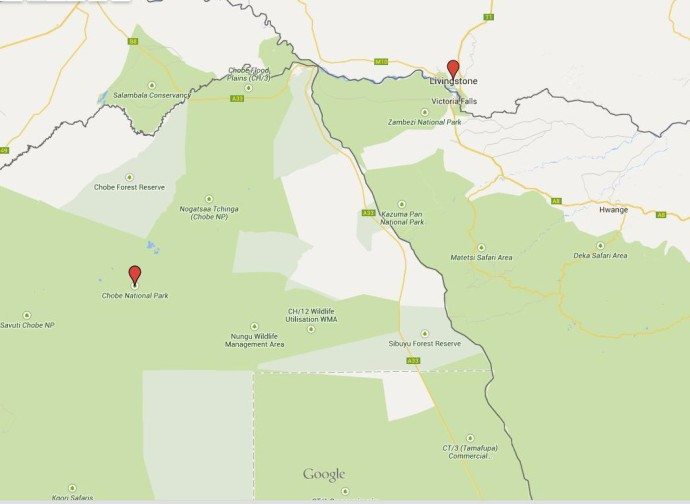 mapa botswana