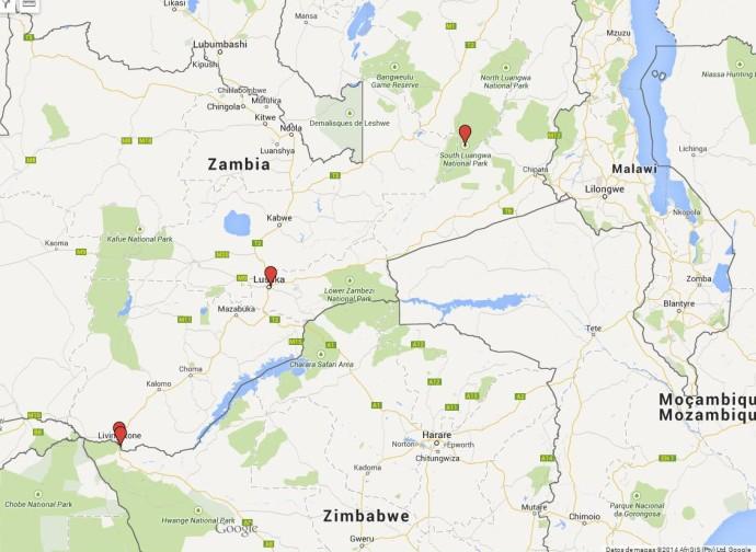 mapa zambia parques