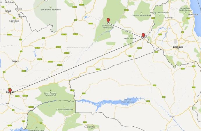 mapa zambia parques 2